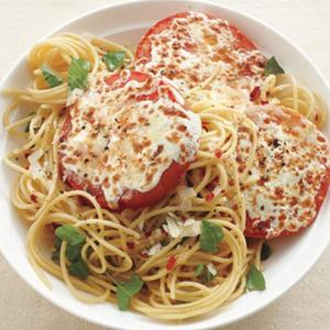 Basil Spaghetti With Cheesy Br