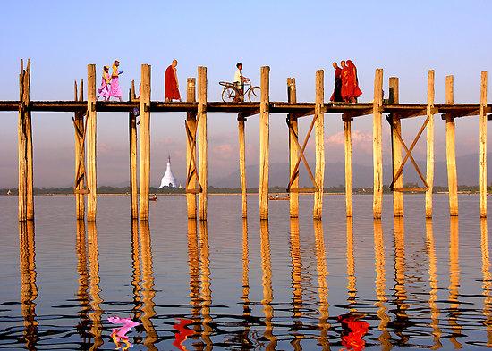 Famous U Bein Bridge in Myanmar
