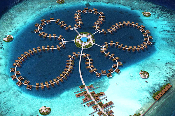 5 Lagoons floating islands project begins to take shape in the Maldives