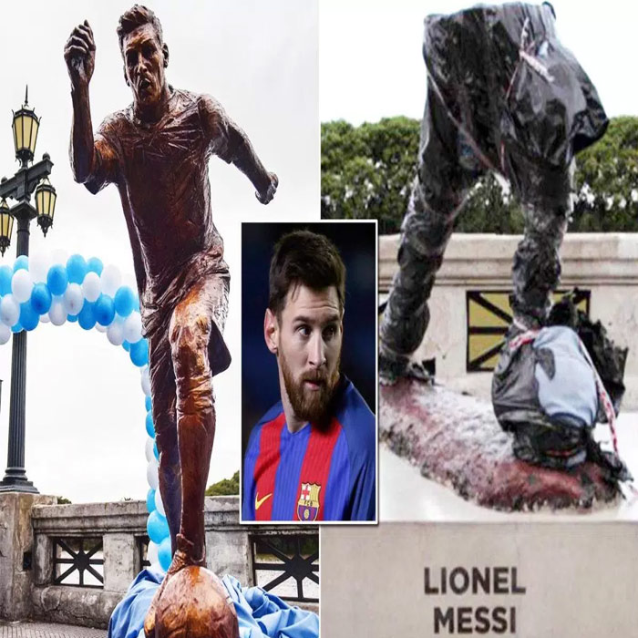 Statue of Lionel Messi in Buenos Aires damaged again