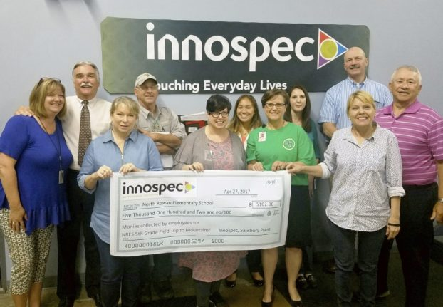 Innospec donate the North Rowan students for travel