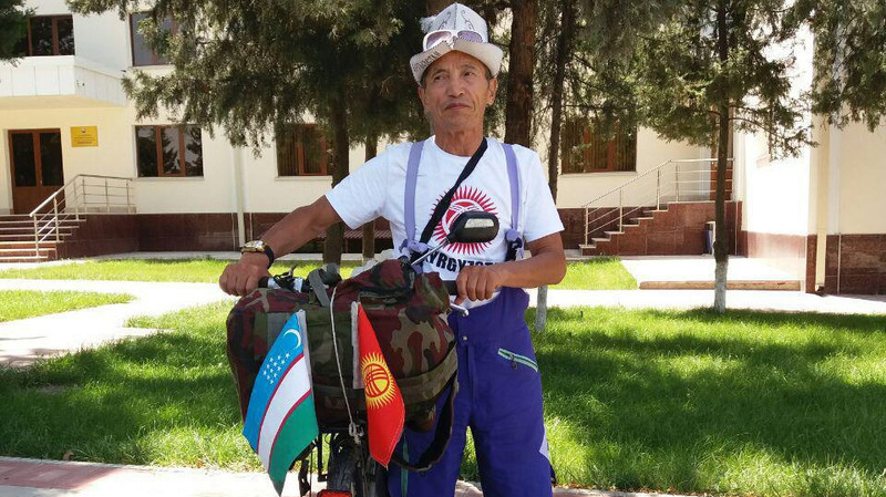 Bishkek man traveling across on Uzbekistan by bike
