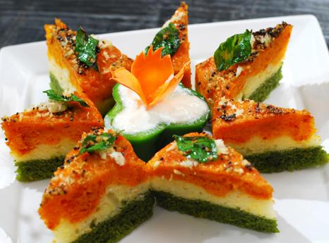Tricolour dhokla for Independence Day