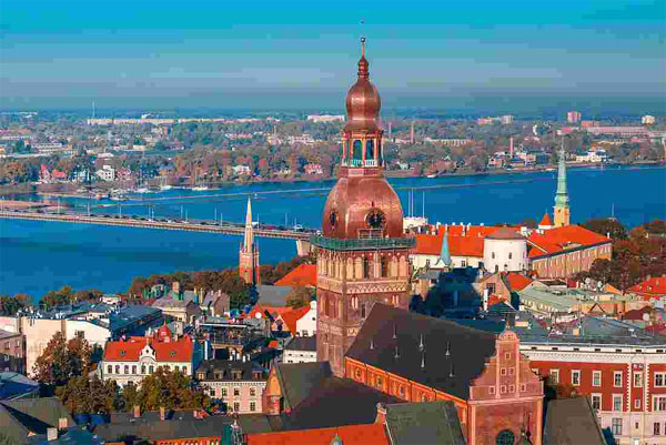 Riga city from tower of St Peters church