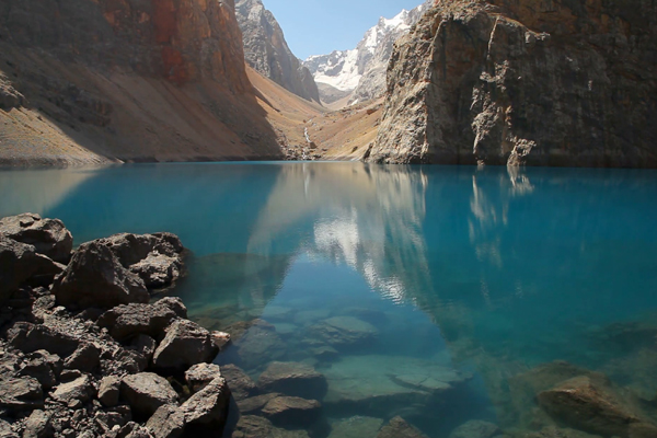 Beautiful lake in the Fann mountains,