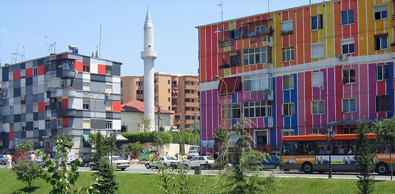 Colourful House Along The Lana River in Tirana