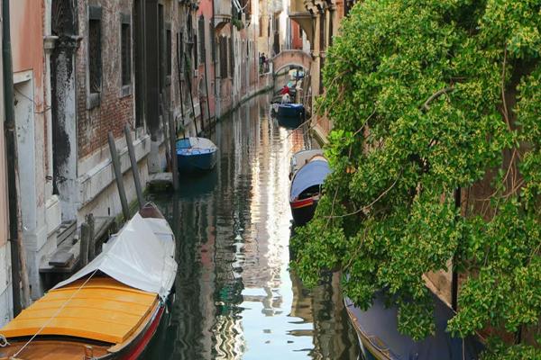 Beautiful Narrow Canal Street In Venice, Italy.